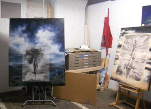 New works from Spring 2013, in studio progress shot