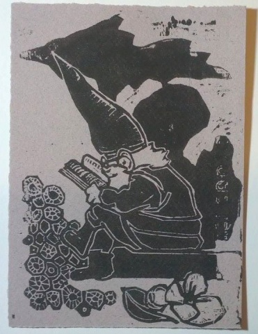 "5x7"" on canson paper. A gnome in his Michigan home, he loves to read, loves Petoskey stones, and apple blossoms."