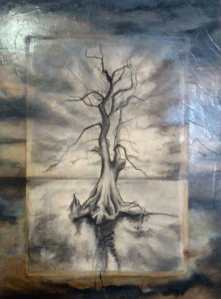 2.5x4' oil on panel and charcoal on mylar