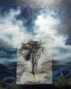 4x5' oil on two attached panels with charcoal on mylar