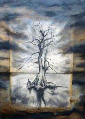 Tree, 2013, Charcoal and Oil on panel