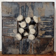 """10x10"""" Acrylic paint, paper, clay, wool"""
