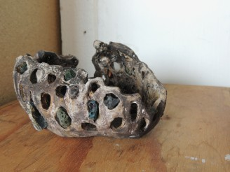 object3. Clay, slag glass
